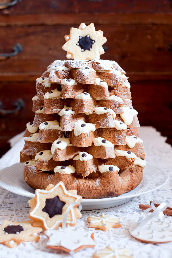 Christmas Tree Pandoro Stock Image Image Of Cookies