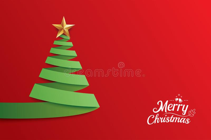 Christmas tree paper art greeting card design. Xmas abstract rib vector illustration