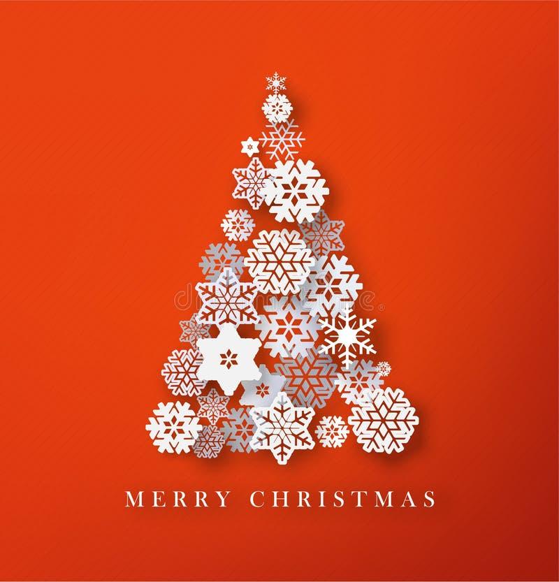 Christmas tree paper cut snowflakes illustraton. Merry Christmas greeting ca vector illustration
