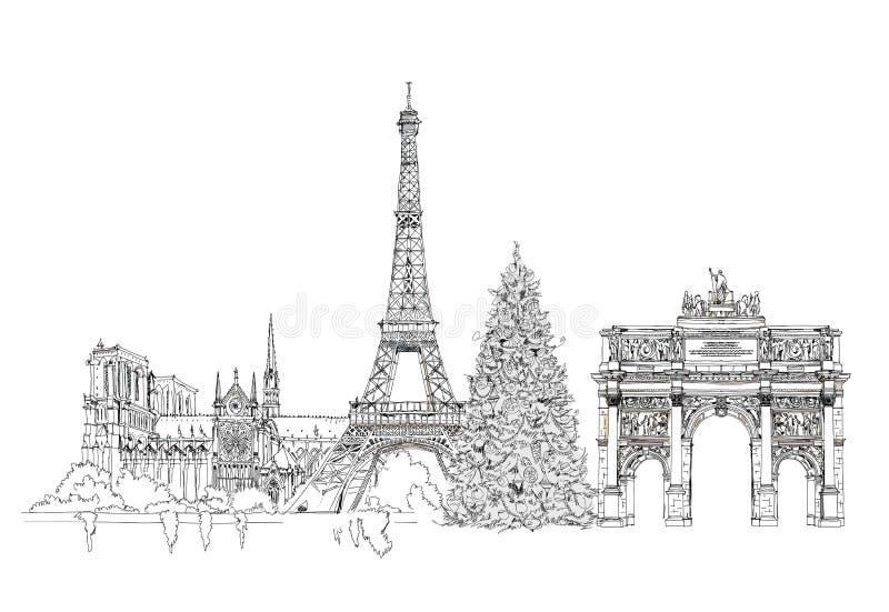 Christmas tree in Paris, sketch, Kid's dreams vector illustration