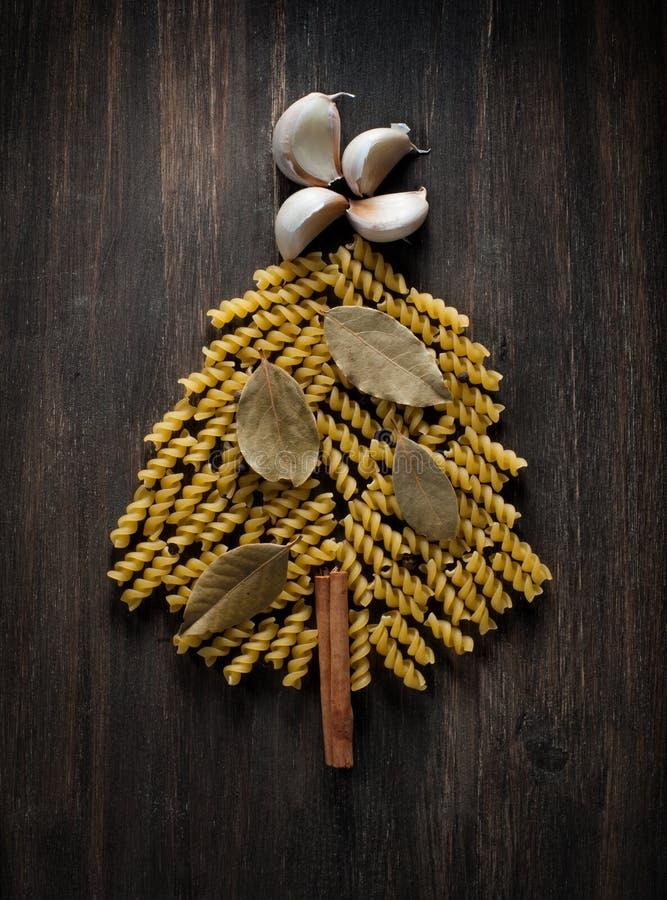 Christmas tree of pasta stock image