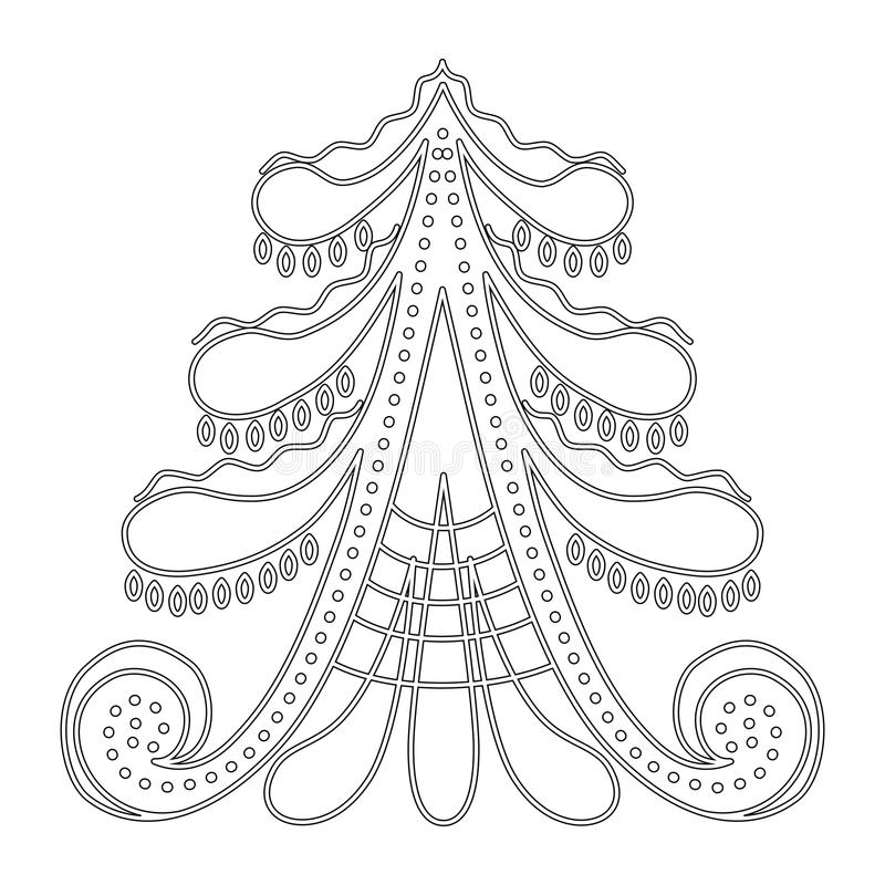 Christmas tree pattern for coloring book stock images