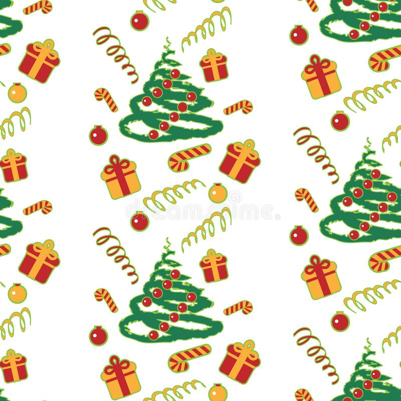 Christmas tree pattern with gifts. Christmas background. Vector illustration. Pattern with Christmas theme royalty free stock photos