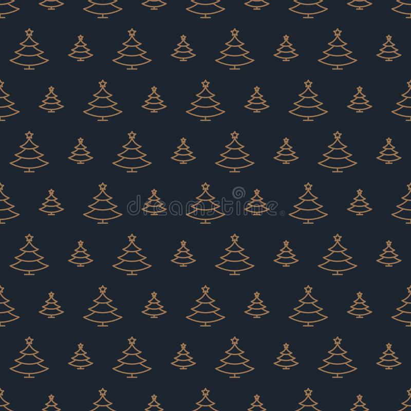 Christmas tree pattern gold style on black background for christmas sale vector illustration