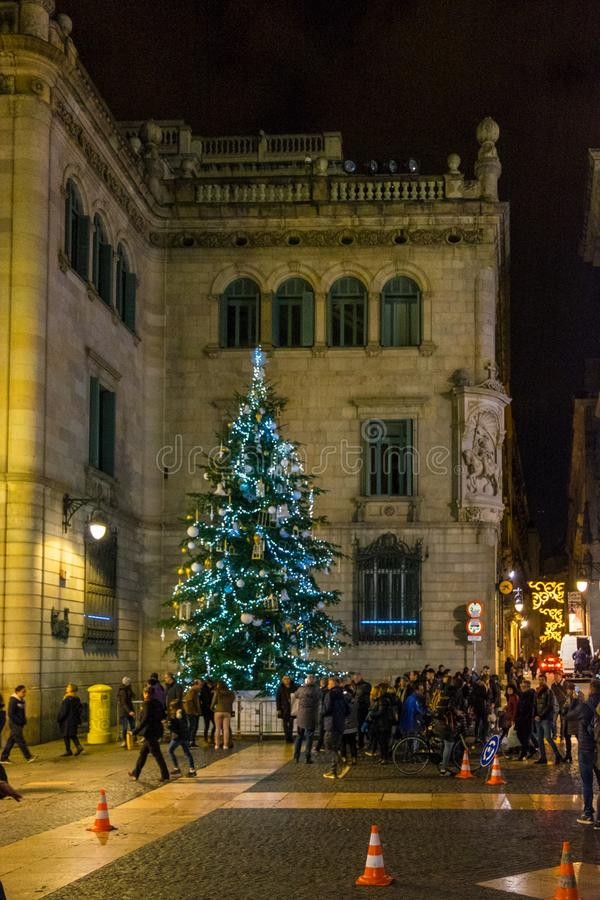Christmas tree in Plaza Sant Jaume at night in Barcelona, Catalonia, Spain. Christmas tree photo in Plaza Sant Jaume at night in Barcelona, Catalonia, Spain stock images