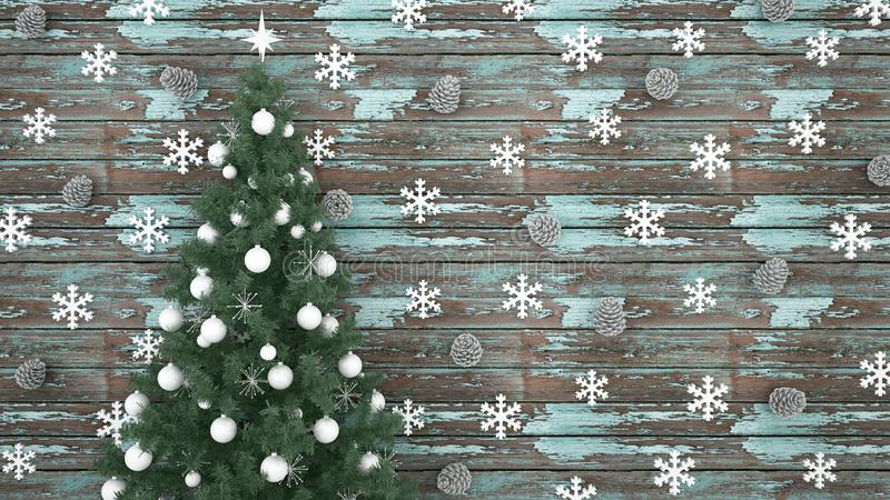Christmas tree with Pine cone and Snowflake on light blue old wood background - artwork for christmas day or happy new year - 3D stock images