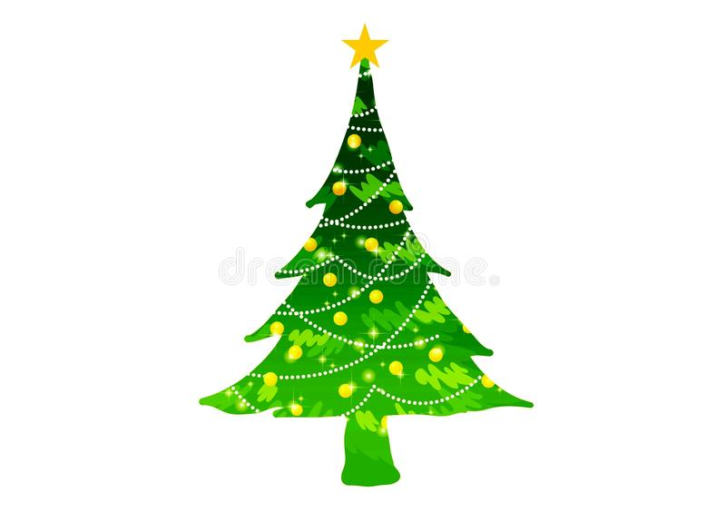 Christmas tree pine decoration ornament design on white background. Illustration design royalty free illustration