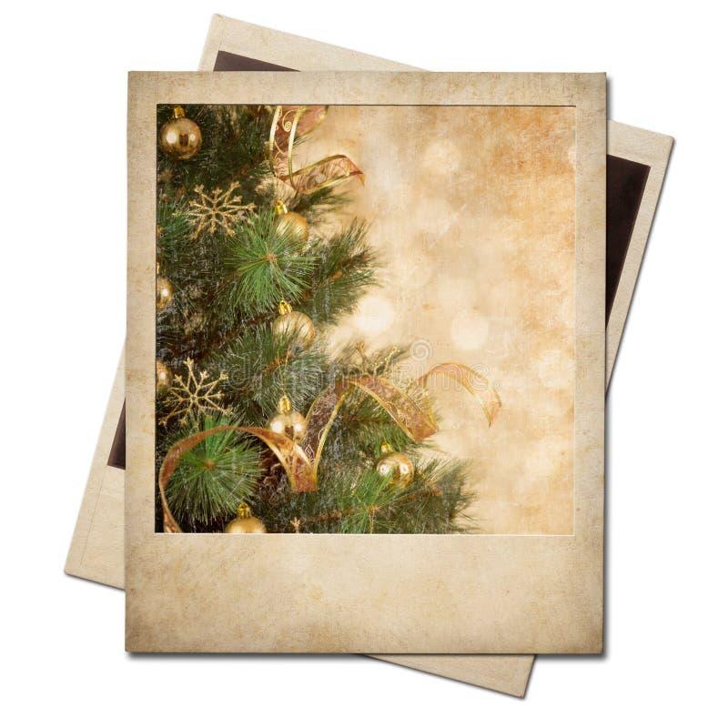 Christmas Tree Polaroid Old Photo Frame Stock Photos
