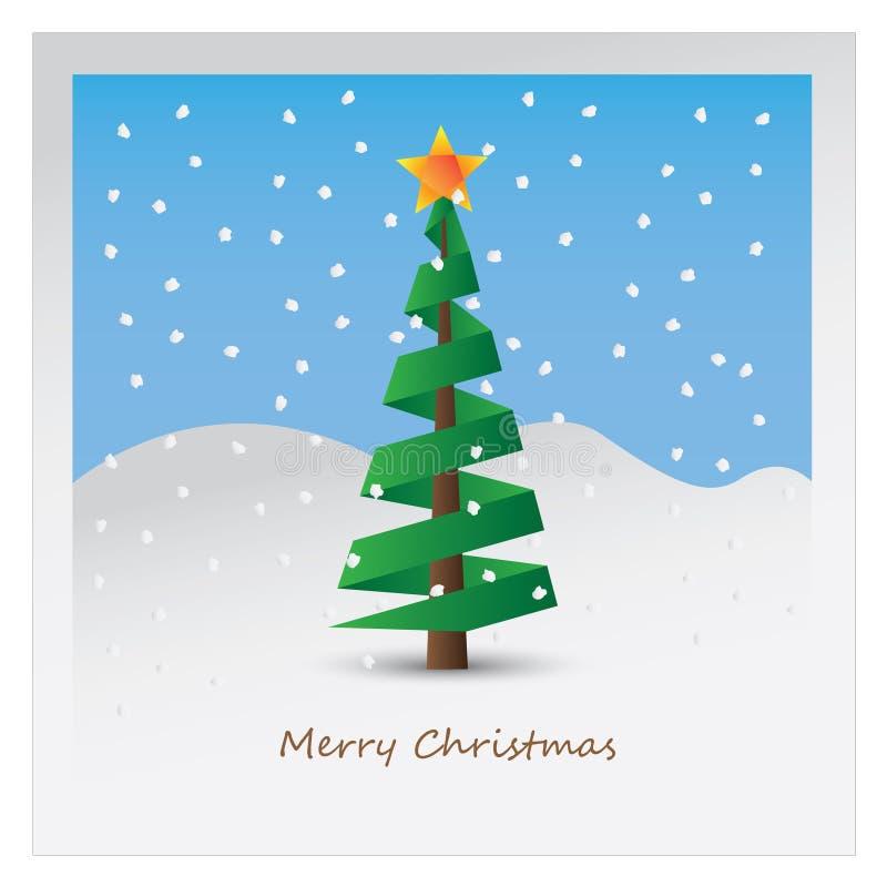 Christmas tree postcard stock illustration