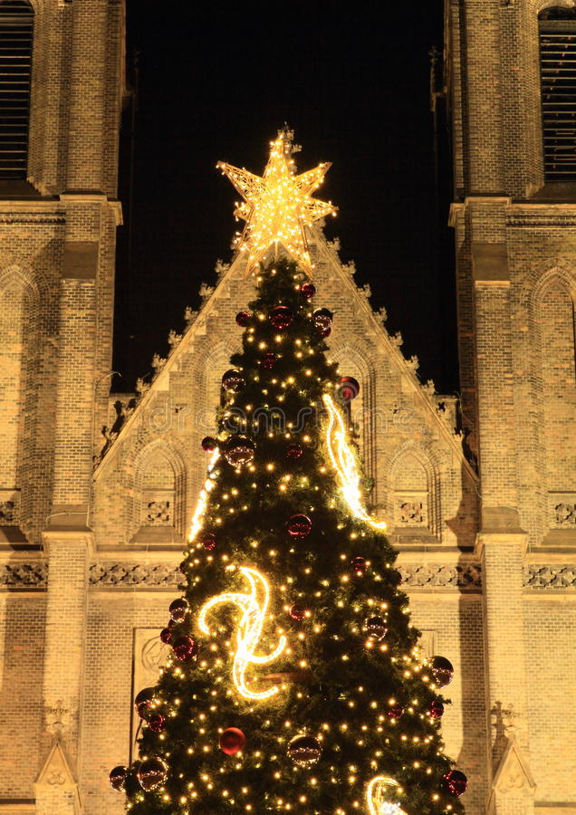 Christmas tree in Prague stock photo