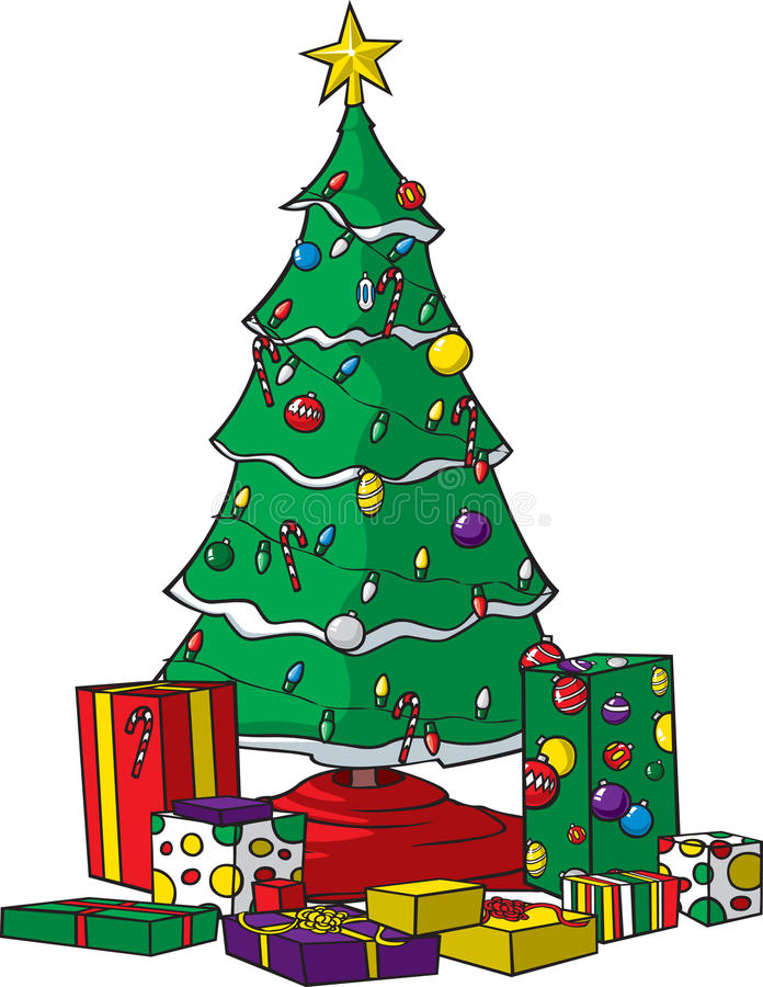 Christmas tree with presents stock illustration