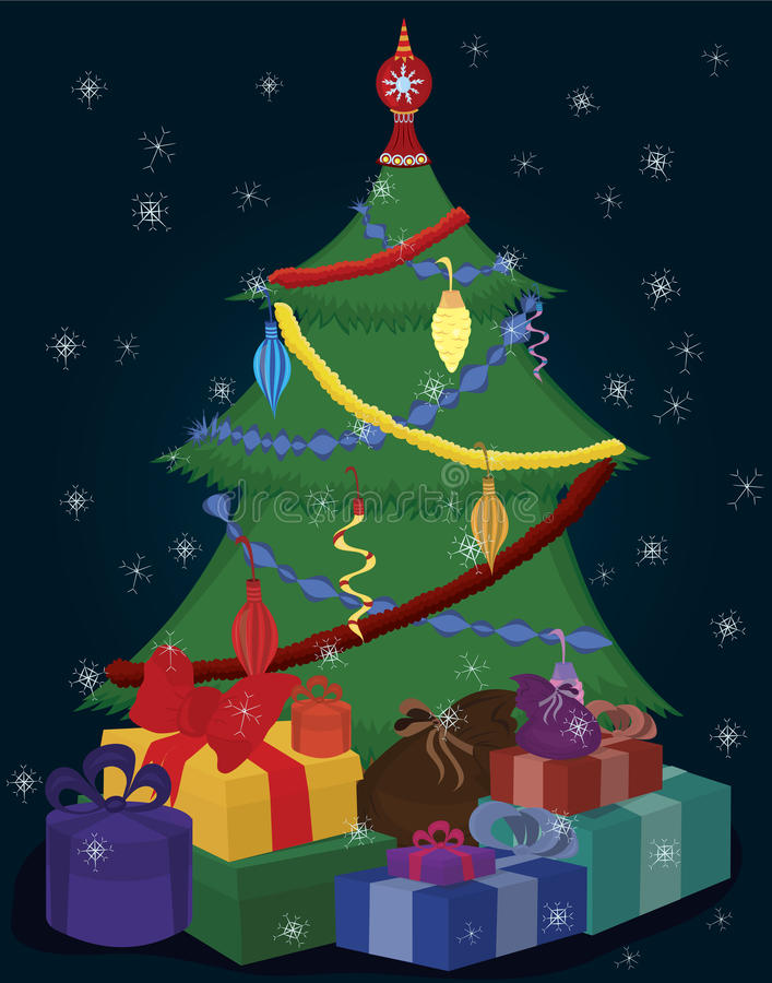 Christmas tree and presents vector illustration