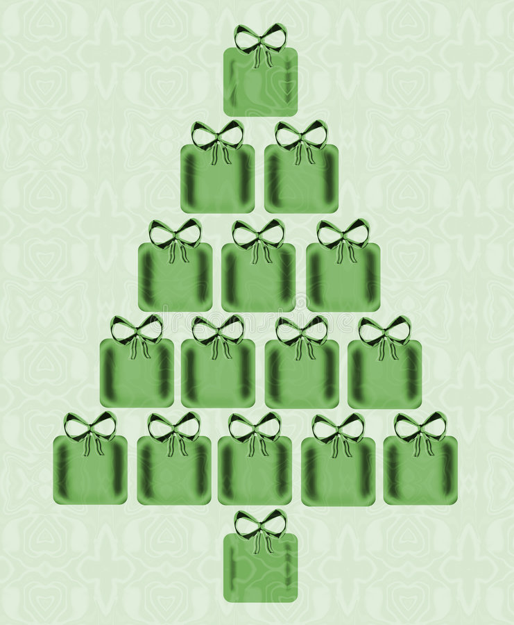Christmas Tree Of Presents. Design of a bright, shining Christmas tree made of green presents each with a bow on top and on a light green wallpaper design vector illustration