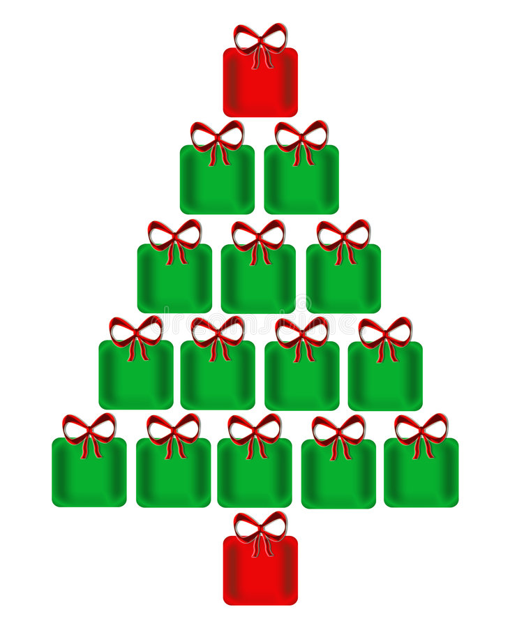 Christmas Tree Of Presents. Design of a bright, shining Christmas tree made of green and red presents each with a red bow on top and isolated on a white vector illustration