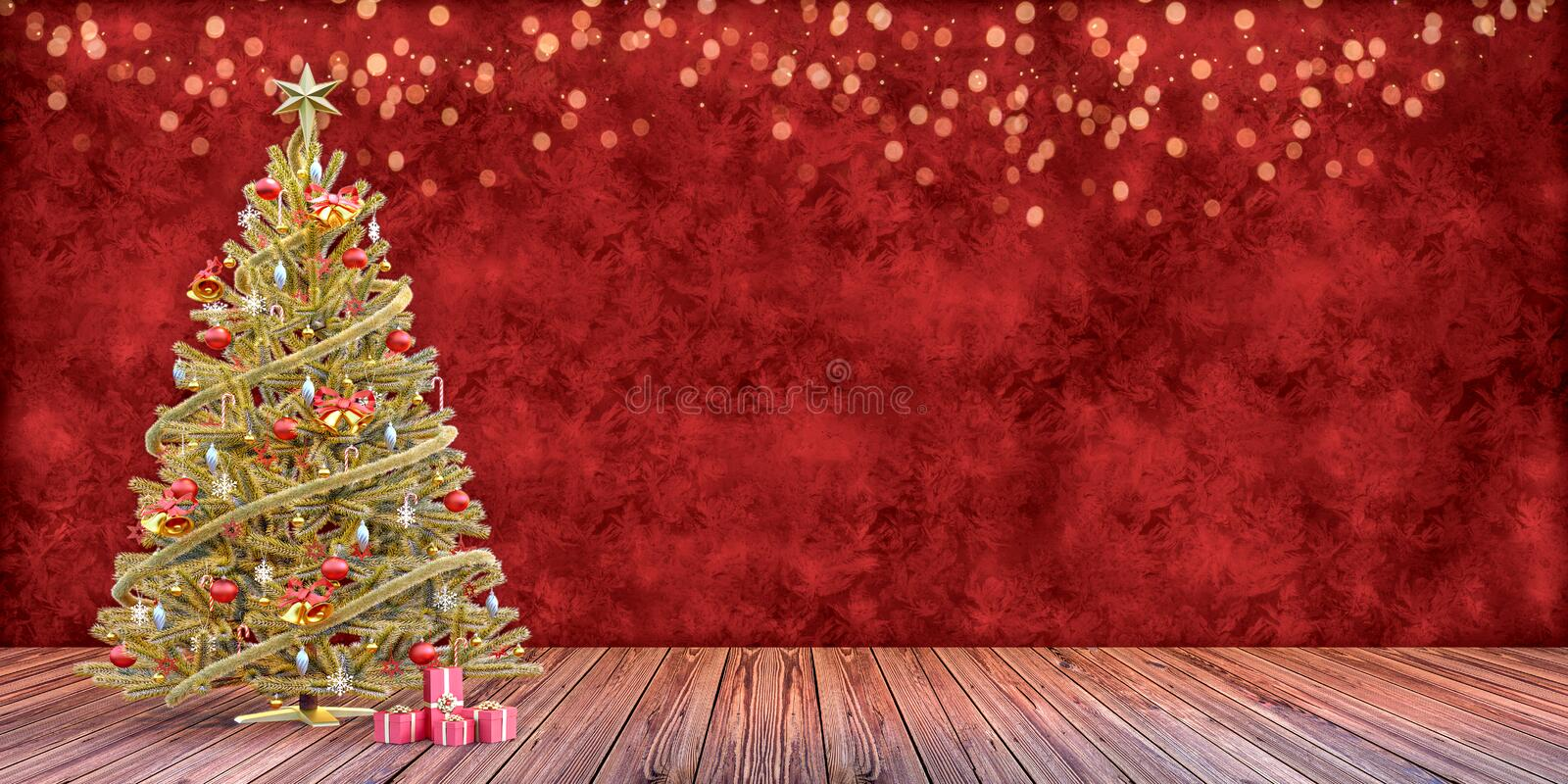 Christmas tree with presents, gift card template stock photography