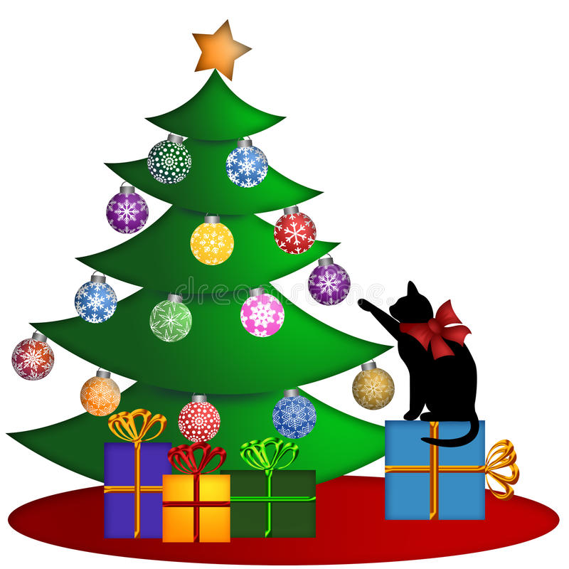 Christmas Tree with Presents Ornaments and Cat stock illustration