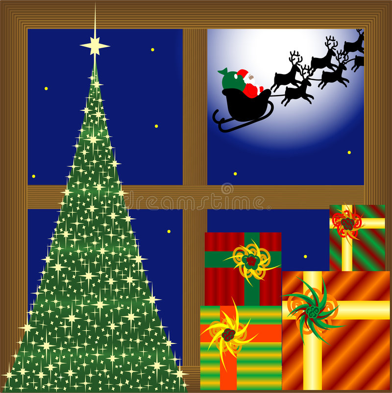 Christmas tree, presents and santa claus stock illustration
