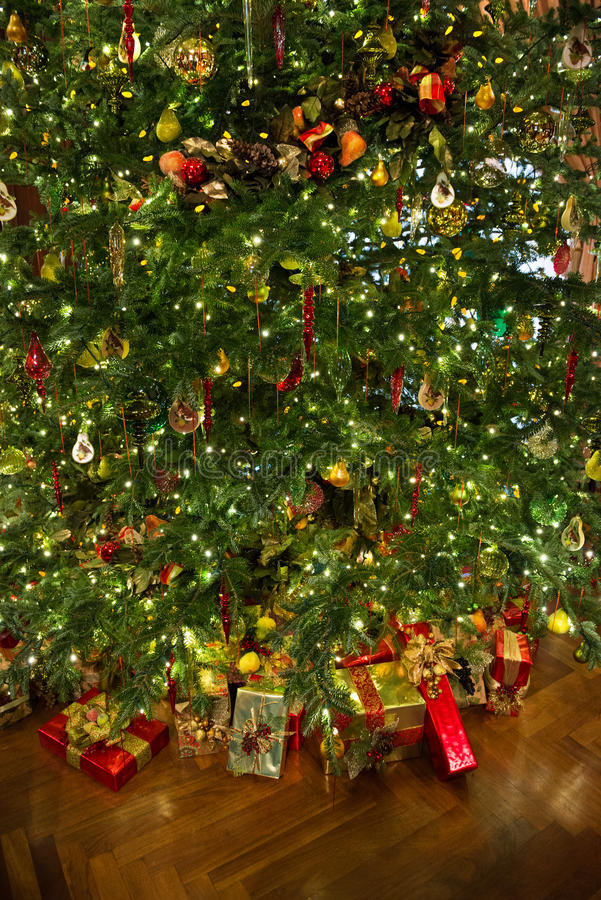 Christmas tree with presents royalty free stock images