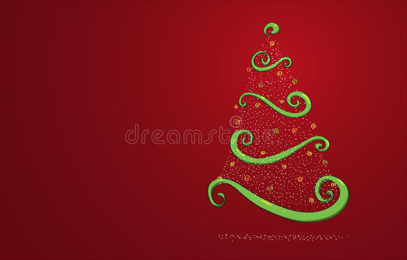 Christmas tree on red. Christmas tree design on red background