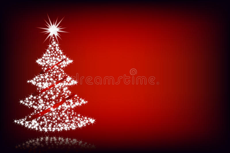Christmas tree-red background royalty free illustration