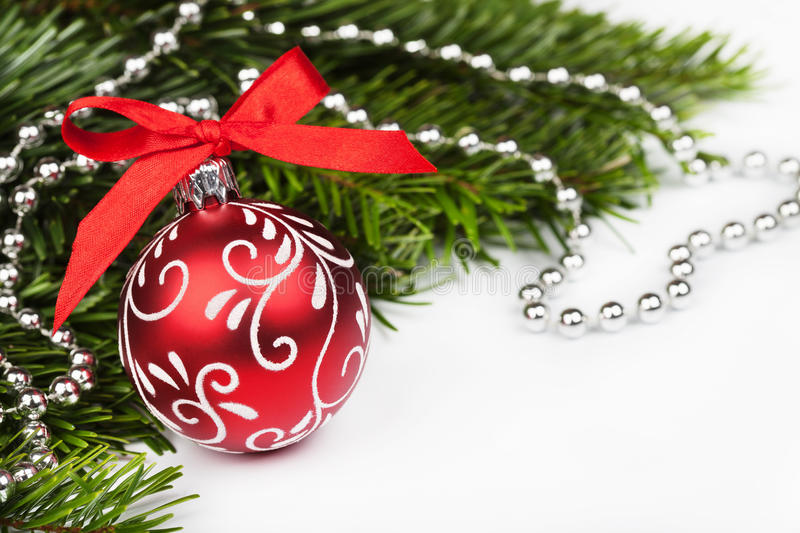 Christmas tree with red ball stock photo