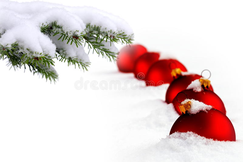 Christmas tree and red balls. Christmas evergreen spruce tree and red glass balls on snow background stock images