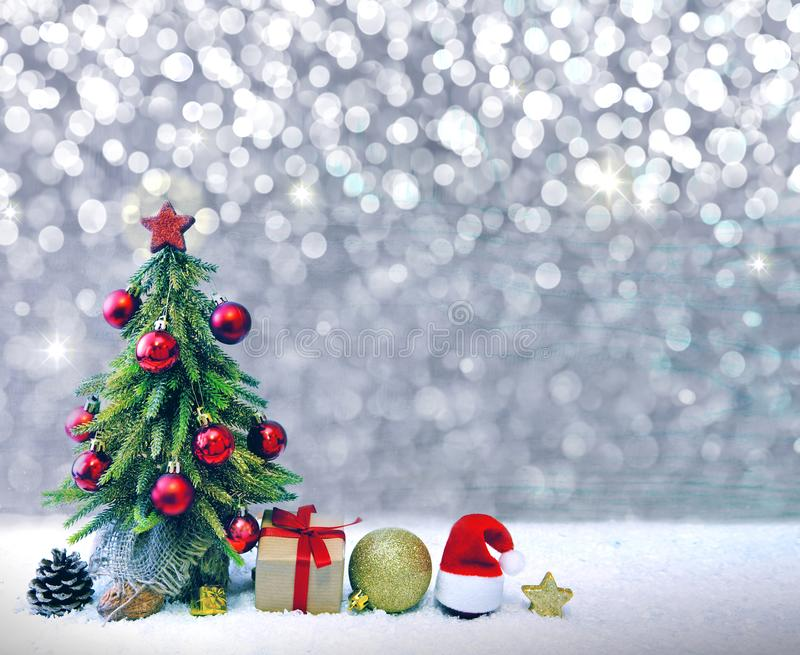 Christmas tree with red balls and decoration. stock image