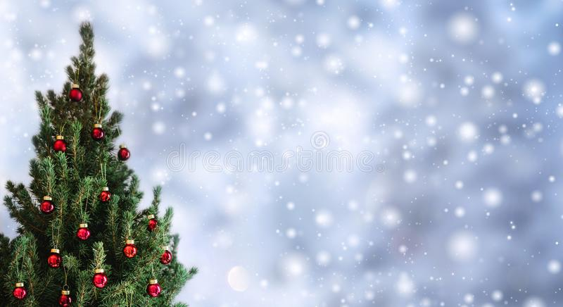 Christmas tree with red Christmas decorations on holiday background with snow, blurred, sparking, glowing. Happy New Year and Xmas theme royalty free stock photography