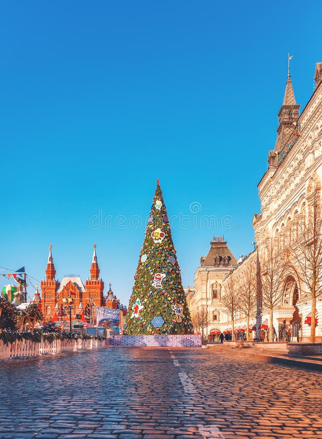 Christmas tree on the Red Square. New Year`s scenery. Gum stock images