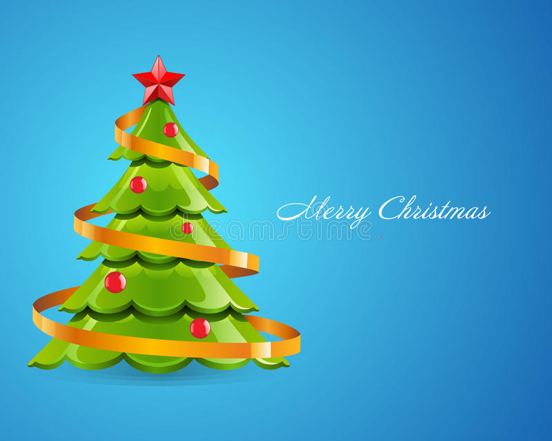 Christmas Tree with Red Star royalty free illustration