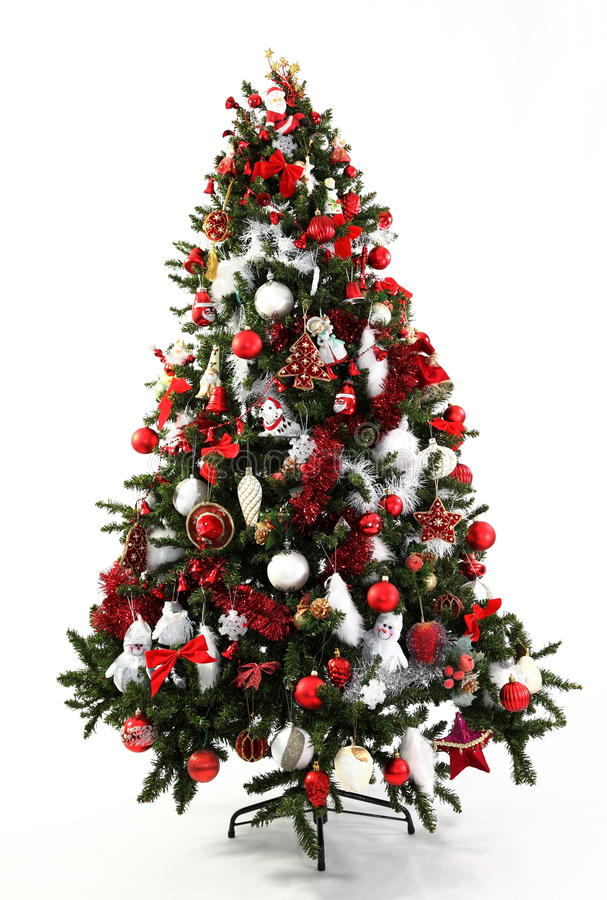 Christmas Tree Red and White. Red and white decorations in a series of colour themed Christmas trees photographed over white with soft shadow at the base royalty free stock photography