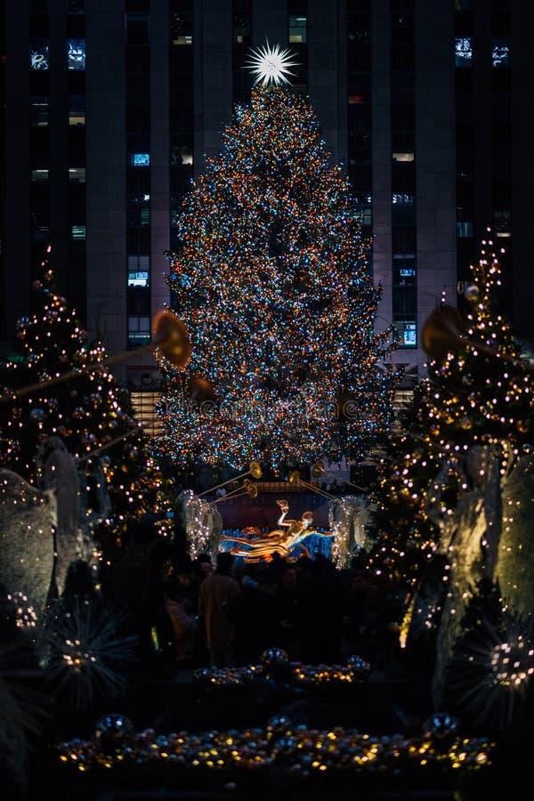 Christmas tree at Rockefeller Center at night, in Midtown Manhattan, New York City.  royalty free stock image
