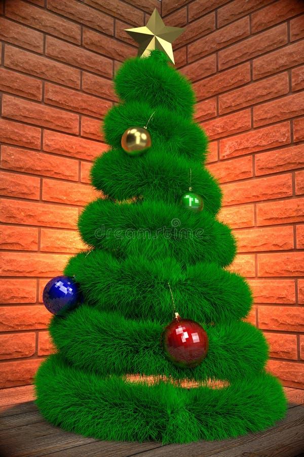 Christmas tree in the room corner vector illustration
