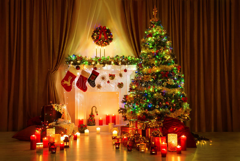 Christmas Tree Room, Xmas Home Night Interior, Fireplace Lighs stock image