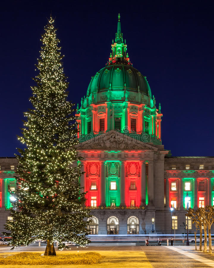 Christmas Tree at San Francisco City Hall stock images