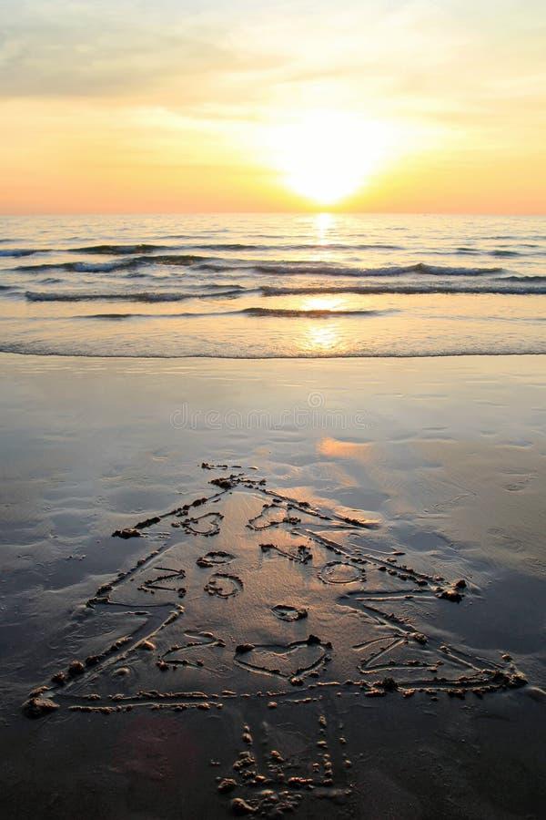 Christmas tree on the sand beach on sunset. stock photos