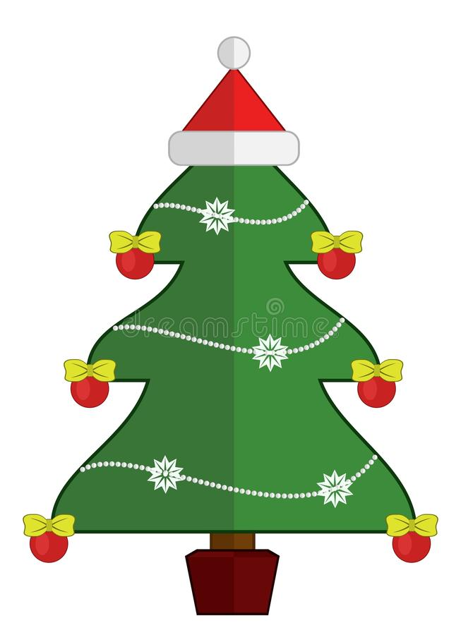 Christmas tree with Santa Claus cap on the top royalty free stock photos