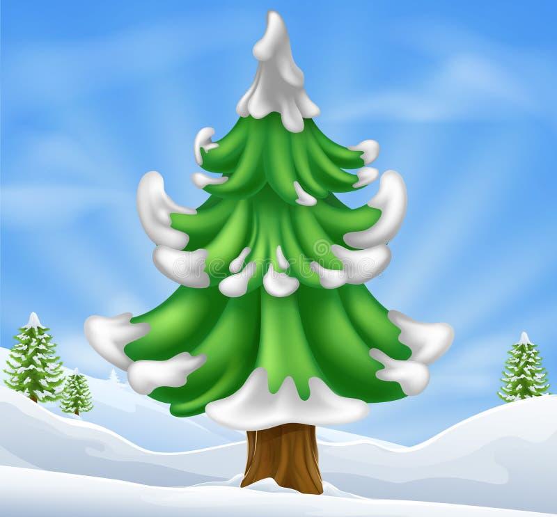 Christmas tree scene stock illustration