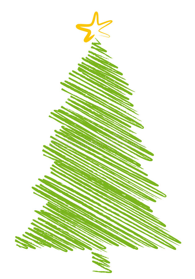 Christmas tree scribble, vector illustration
