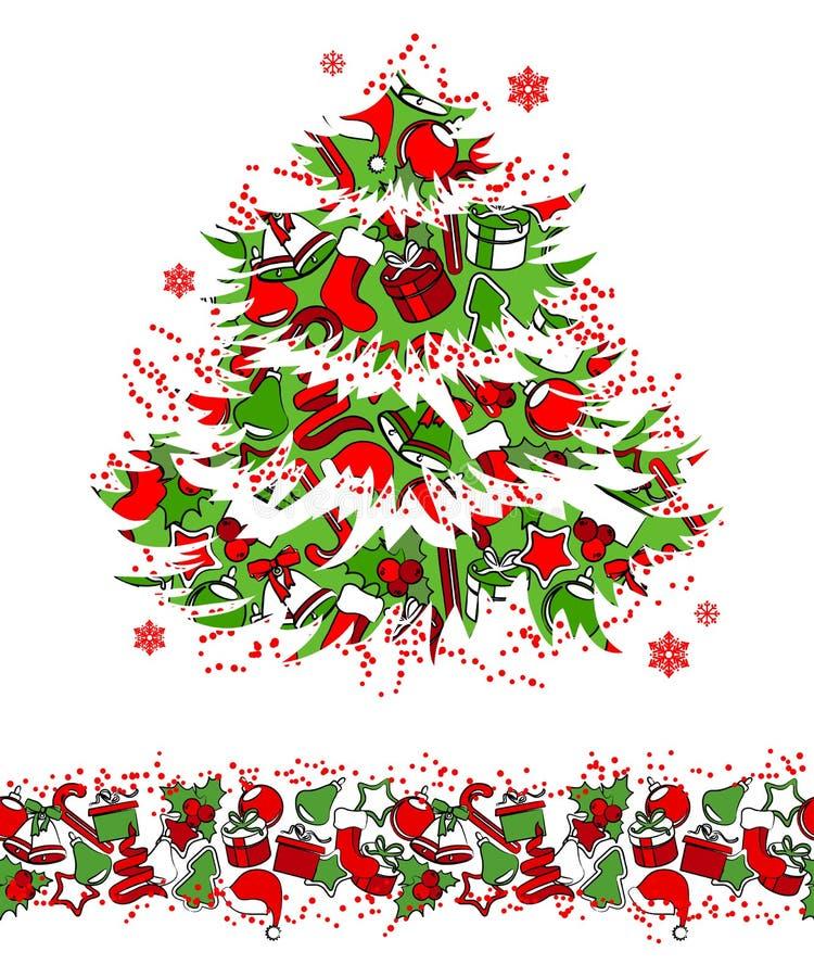 Christmas Tree And Seamless Border Stock Photography