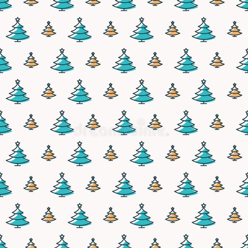 Christmas tree seamless pattern color scandinavian style on white background vector illustration