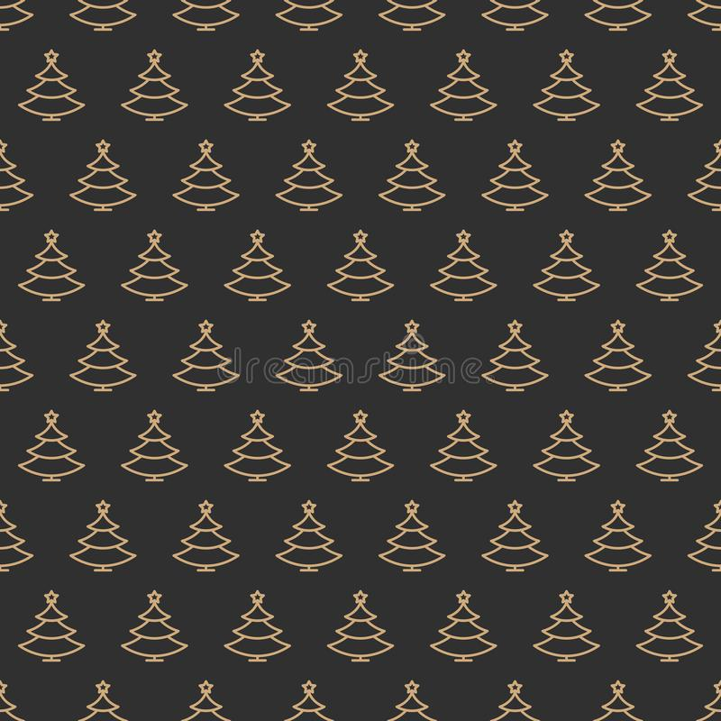Christmas tree seamless pattern gold color line style on black background stock illustration