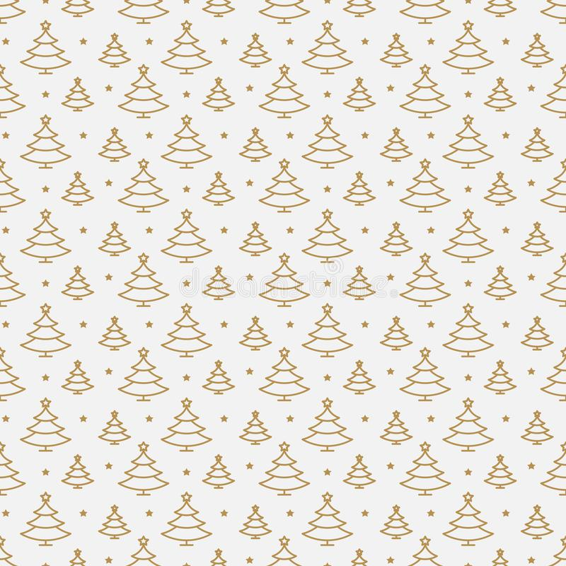 Christmas tree seamless pattern gold line style royalty free illustration