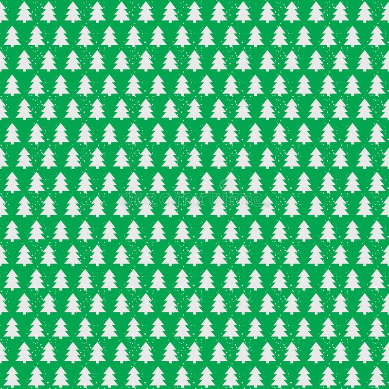Christmas tree seamless pattern white color on green holiday background royalty free illustration