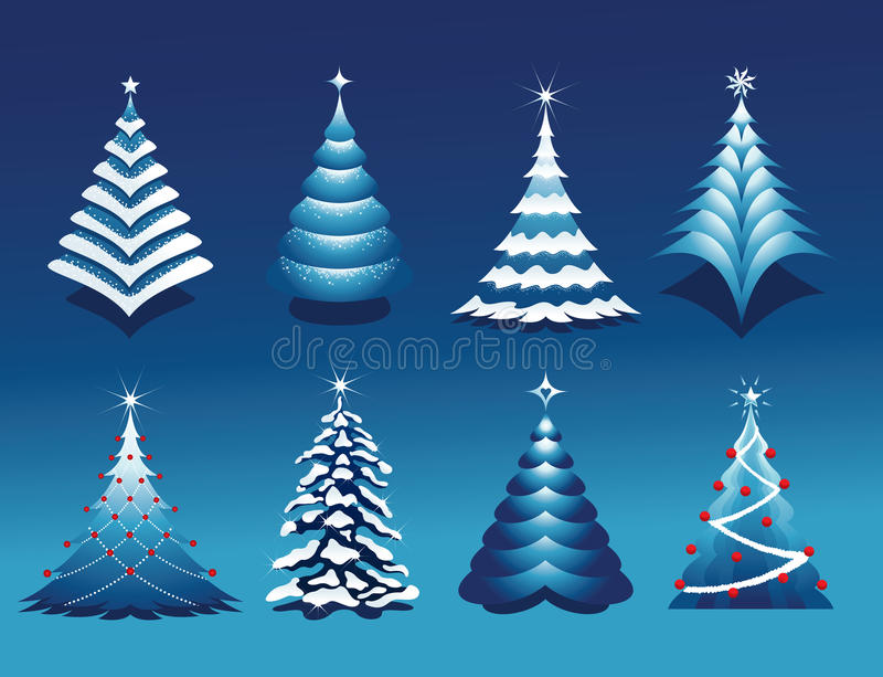 Christmas Tree Set royalty free illustration
