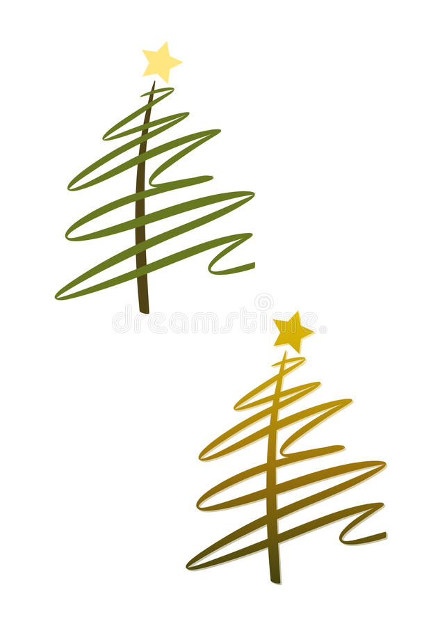 Christmas tree (set): green and gold. Abstract modern christmas tree with stars (two color versions included vector illustration