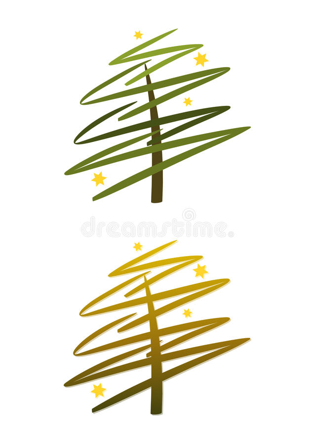 Christmas tree (set): green and gold. Abstract modern christmas tree with stars (two color versions included royalty free illustration