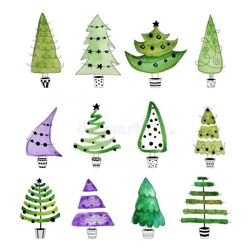 Christmas tree set. Hand drawn christmas trees with stars and balls stock illustration