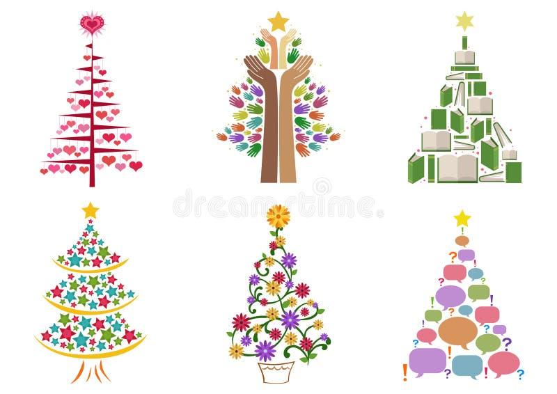 Christmas Tree Set. Set of six colored Christmas tree vector illustrations stock illustration