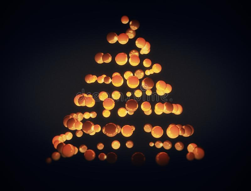 Christmas tree shape made of 3d spheres royalty free stock photography